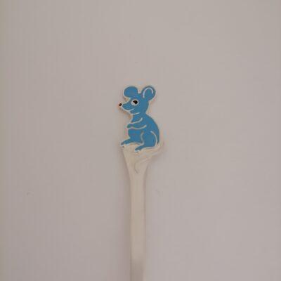 hõbedast lastelusikas hiir sinine