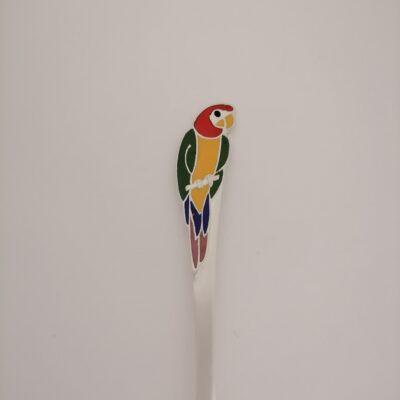 hõbedast lastelusikas papagoi